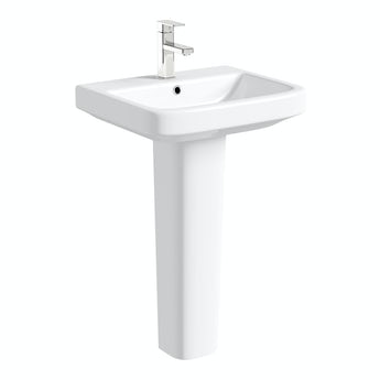 Mode Ive full pedestal basin 550mm with waste