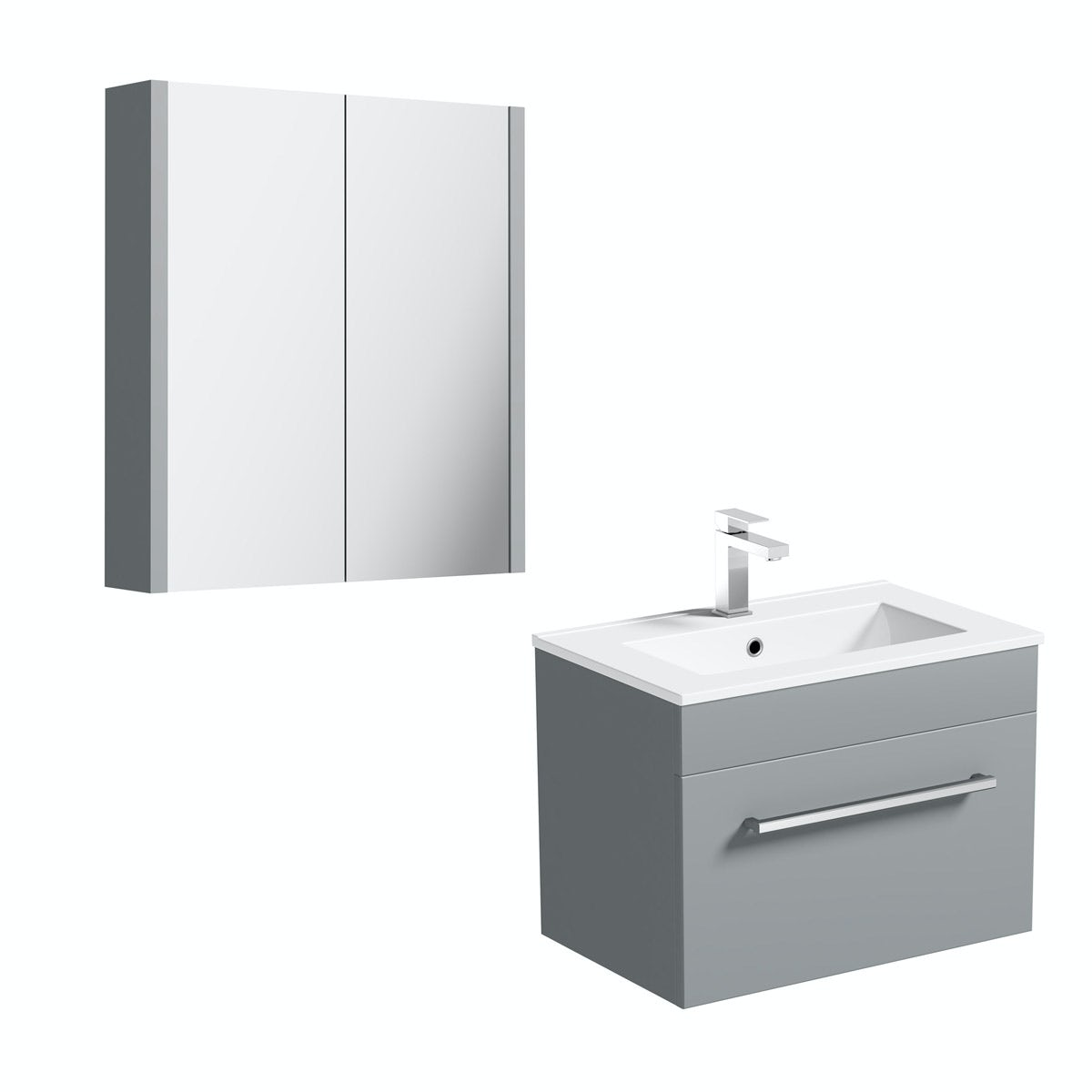 Orchard Derwent stone grey wall hung vanity unit 600mm and mirror