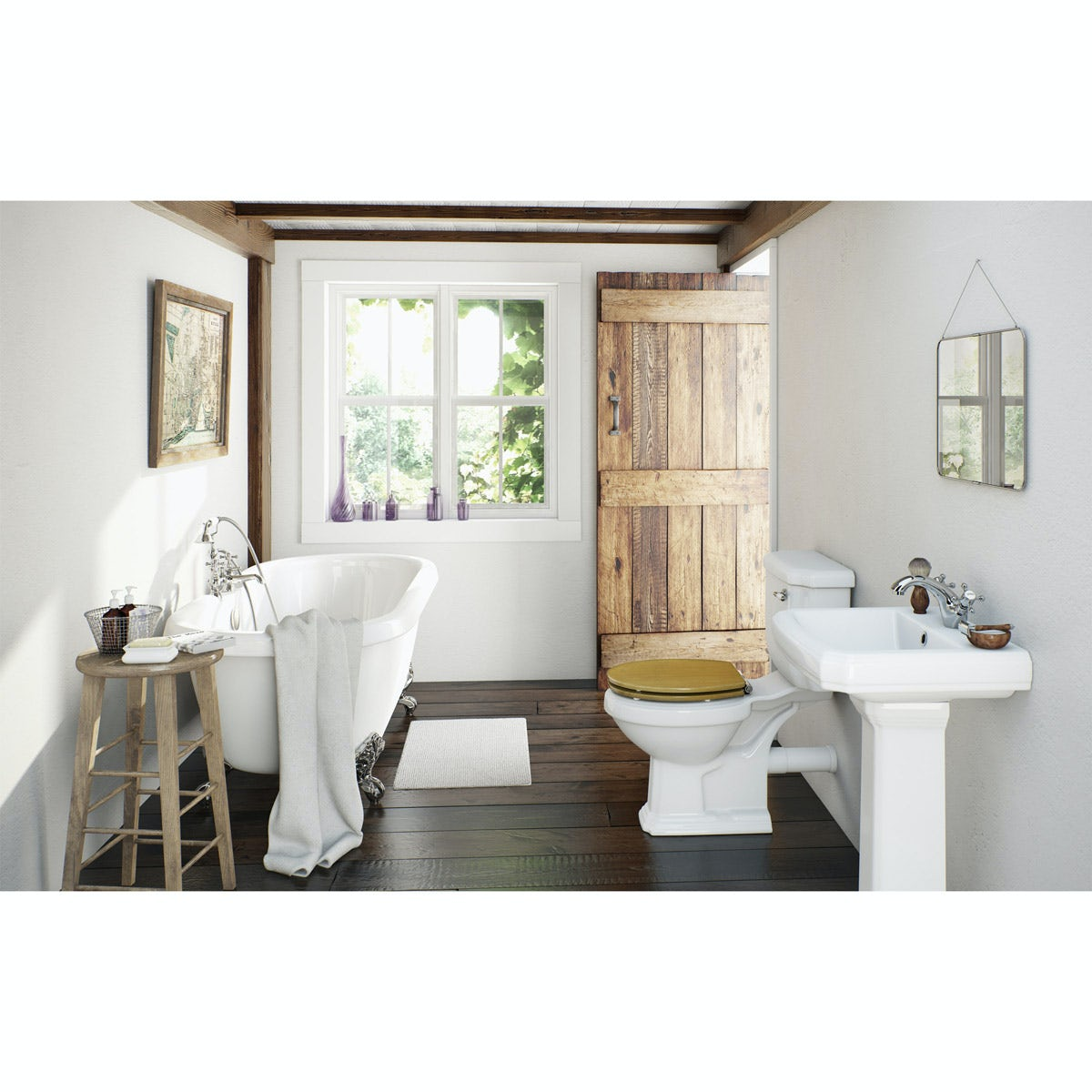 The Bath Co. Dulwich bathroom suite with roll top bath 1700