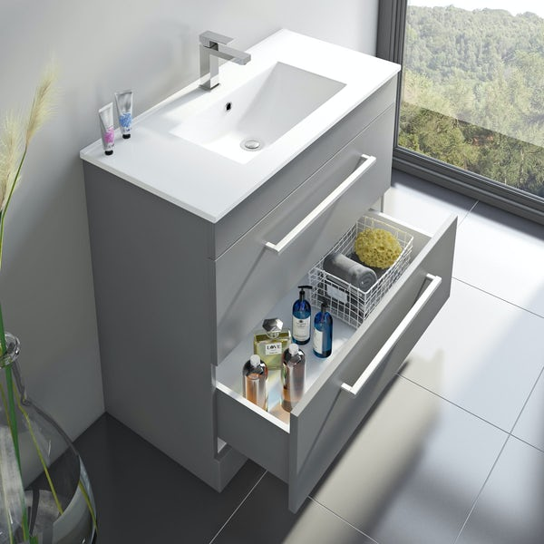 Derwent grey vanity drawer unit and basin 800mm