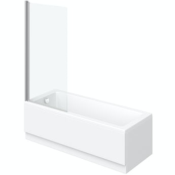 Orchard square edge straight shower bath with 5mm shower screen