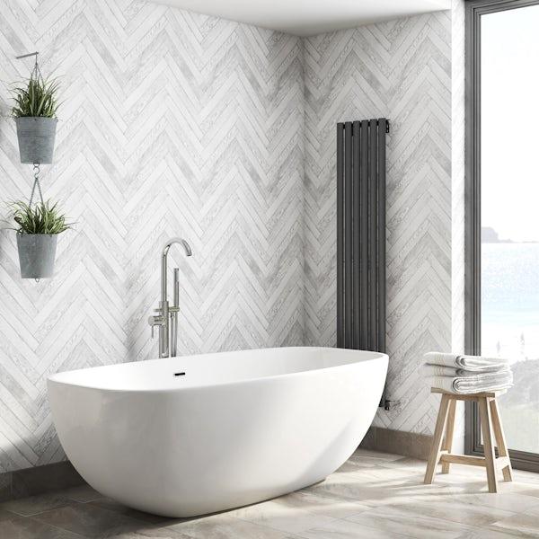 Fine Decor distinctive 4 parquet wood white wallpaper