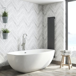 Fine Decor distinctive 4 parquet wood white wallpaper