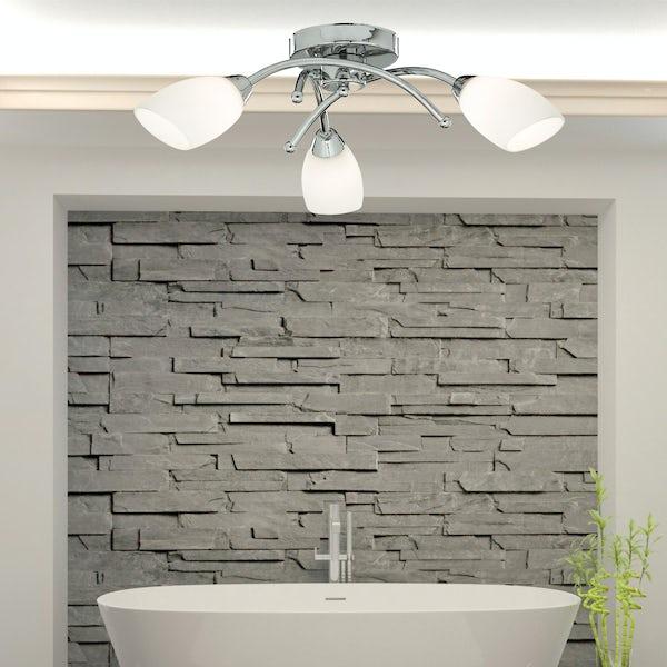 Searchlight Chrome 3 light bathroom ceiling light