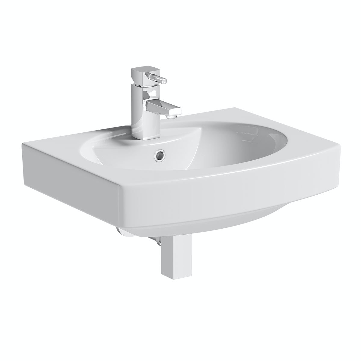 Orchard Wye 1 tap hole wall hung basin 555mm with waste