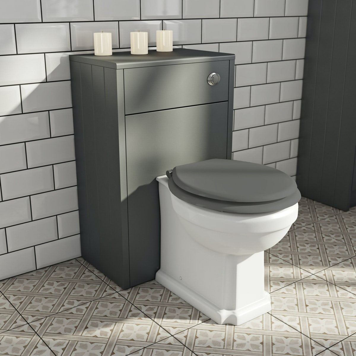 The Bath Co. Dulwich stone grey back to wall unit and toilet with grey wooden seat