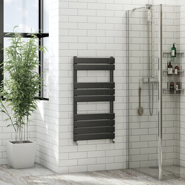Signelle anthracite heated towel rail 950 x 500 offer pack