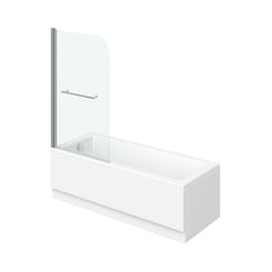 Kensington straight shower bath 1700 x 700 with 6mm shower screen and rail