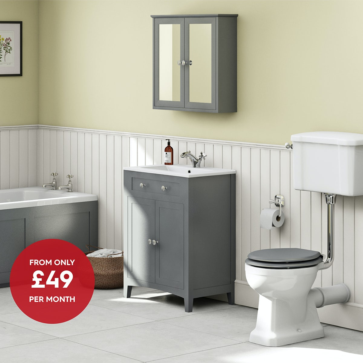 The Bath Co. Camberley grey low level complete furniture suite with straight bath 1700 x 700