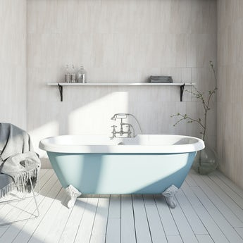 The Bath Co. Bluebell coloured bath with Hampshire shower bath mixer tap