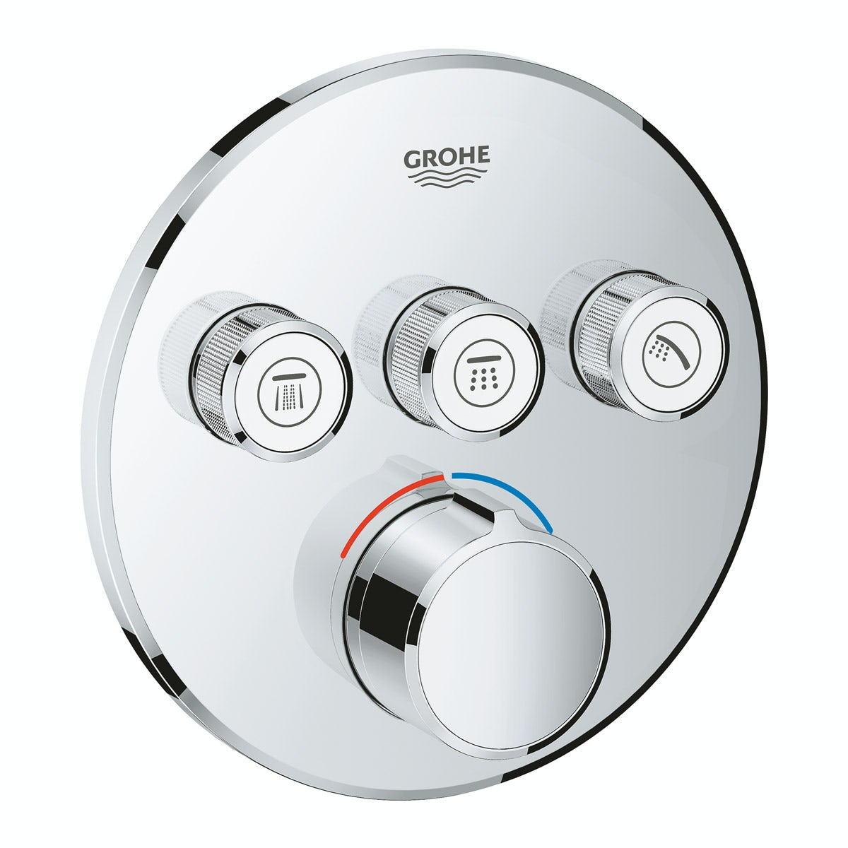 Grohe SmartControl round concealed 3 way shower valve trimset