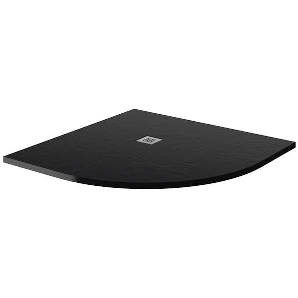 ModeHarrison8mm easy clean quadrant shower enclosure with black slate effect tray 800 x 800