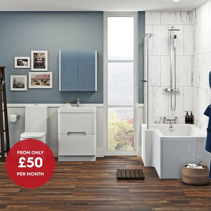 Mode Tate left hand shower bath 1700 x 850 suite with Ellis white floor drawer unit