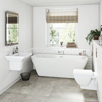 Mode Verso bathroom suite with back to wall bath