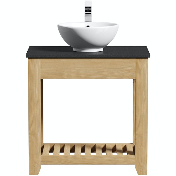 Hoxton oak washstand 800mm with black marble top and Rydal basin