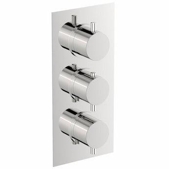 Mode Matrix square triple thermostatic shower valve with diverter offer pack