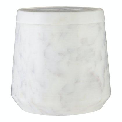 White marble storage jar