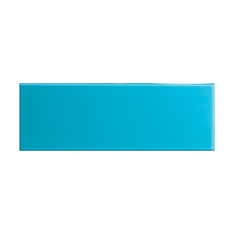 cut out of glass sky blue rectangular tile