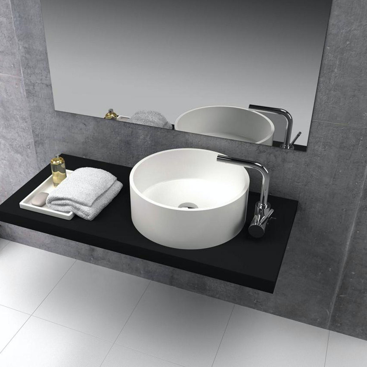 Mode Goda solid surface stone resin round countertop basin 400mm with waste