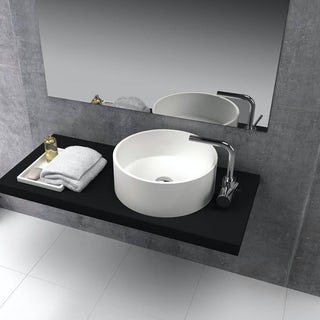 Belle de Louvain Goda solid surface stone resin round counter top basin 400mm