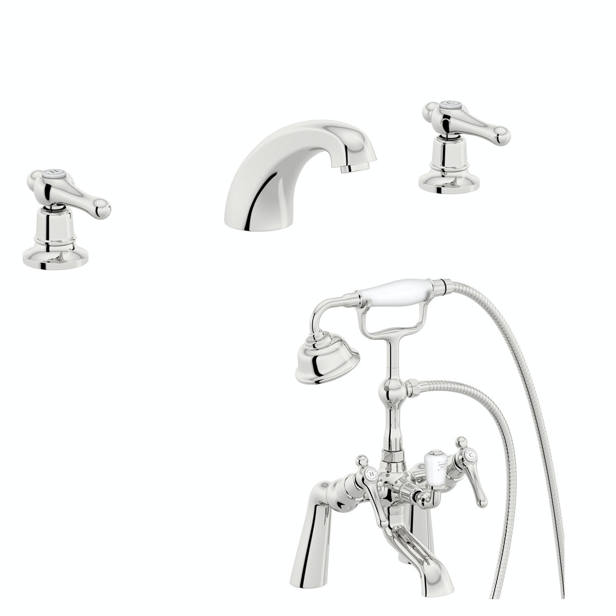 The Bath Co. Camberley lever 3 hole basin and bath shower mixer tap pack