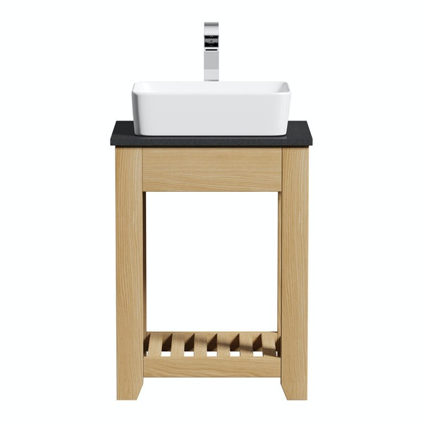 The Bath Co. Hoxton oak washstand with black marble top and Ellis countertop basin 600mm