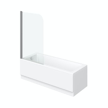 Orchard square edge straight shower bath with 6mm shower screen