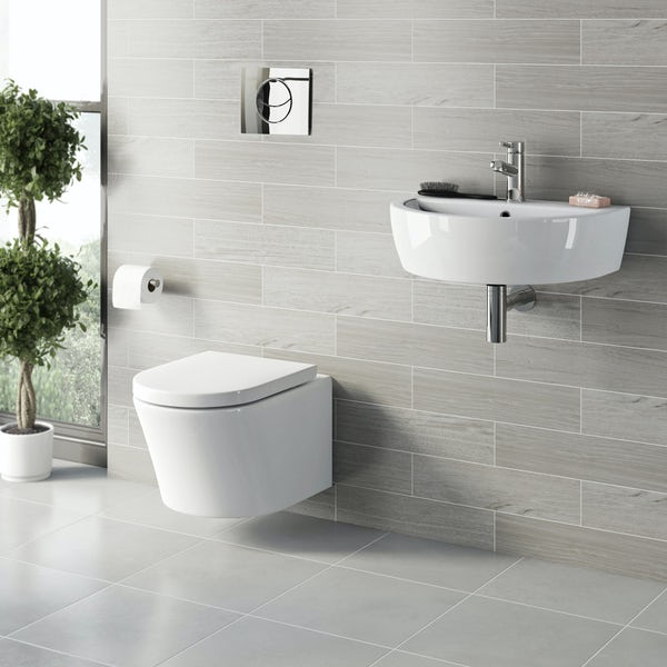 Tate hung toilet and wall hung basin suite