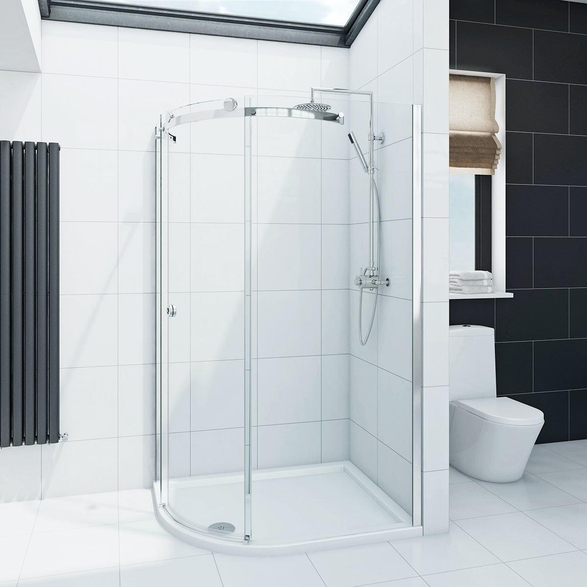 Mode Infiniti 8mm single sliding door left handed offset quadrant shower enclosure 900 x 760