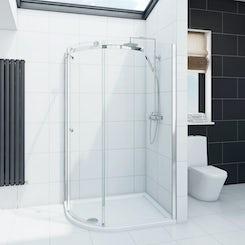 Infiniti 8mm single sliding door left handed quadrant shower enclosure 900 x 760