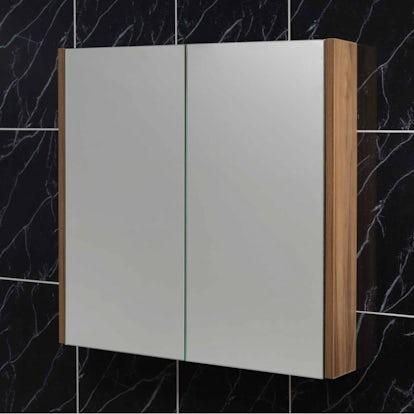 Walnut 2 door bathroom mirror cabinet for Bathroom cabinets victoria plumb