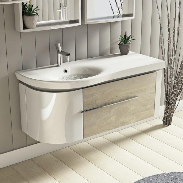 Mode Burton white & rustic oak wall hung vanity unit and basin 1200mm