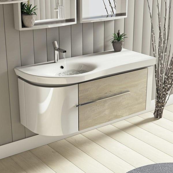 rustic oak bathroom furniture.  Mode Burton White Rustic Oak Wall Hung Vanity Unit And Basin 1200mm