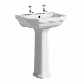 Regency 2 tap hole full pedestal basin 580mm with waste