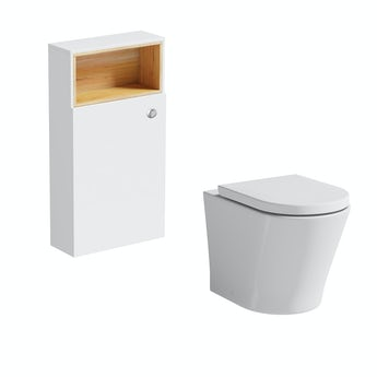 Mode Tate white and oak slimline back to wall toilet unit and Arte toilet with seat
