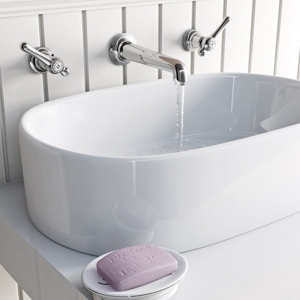 The Bath Co. Camberley lever wall mounted basin mixer tap offer pack