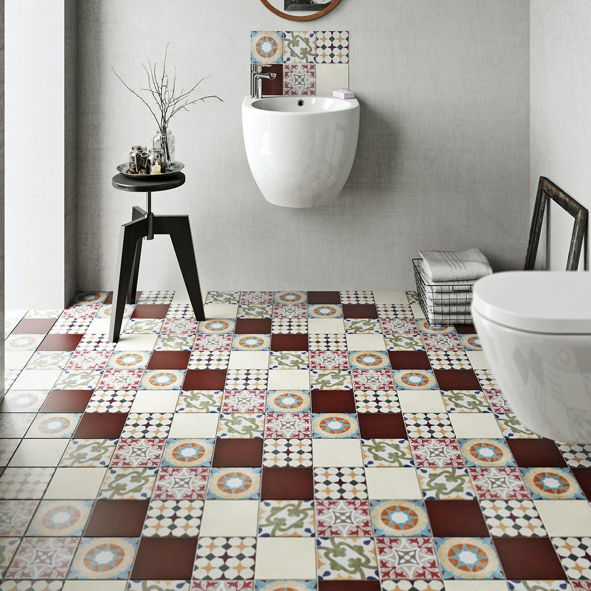 British ceramic tile patchwork pattern multi colour matt tile british ceramic tile patchwork pattern multi colour matt tile 142mm x 142mm dailygadgetfo Choice Image