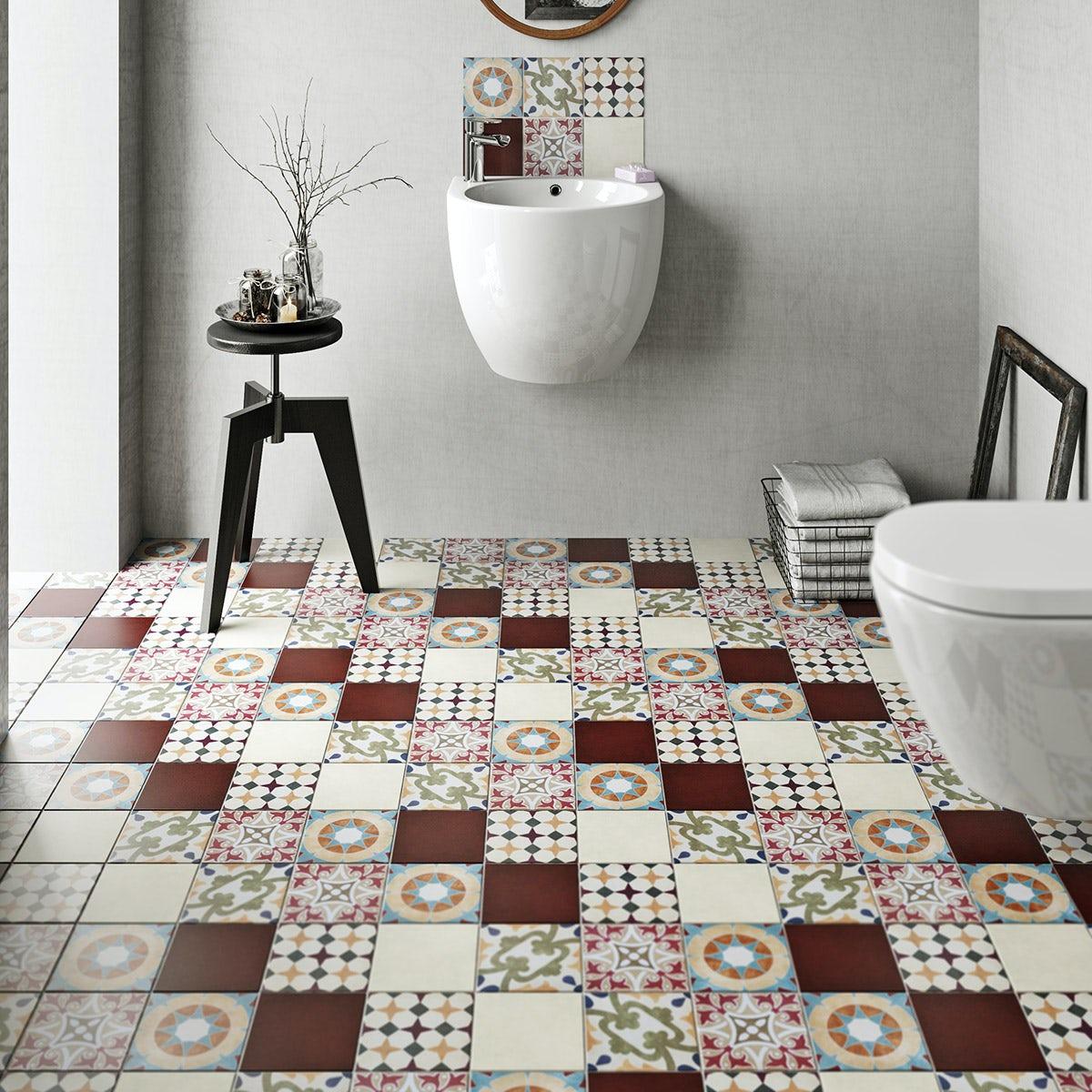British Ceramic Tile Patchwork pattern multi colour matt tile 142mm x 142mm
