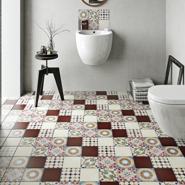 British Ceramic Tile Patchwork pattern multi colour matt tile 142mm x 142mm