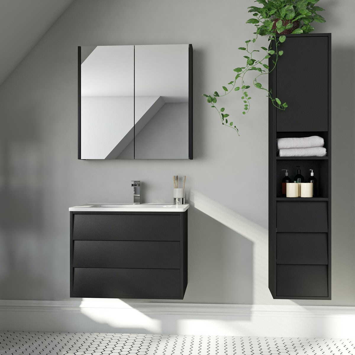 Mode Cooper anthracite furniture package with vanity unit 600mm