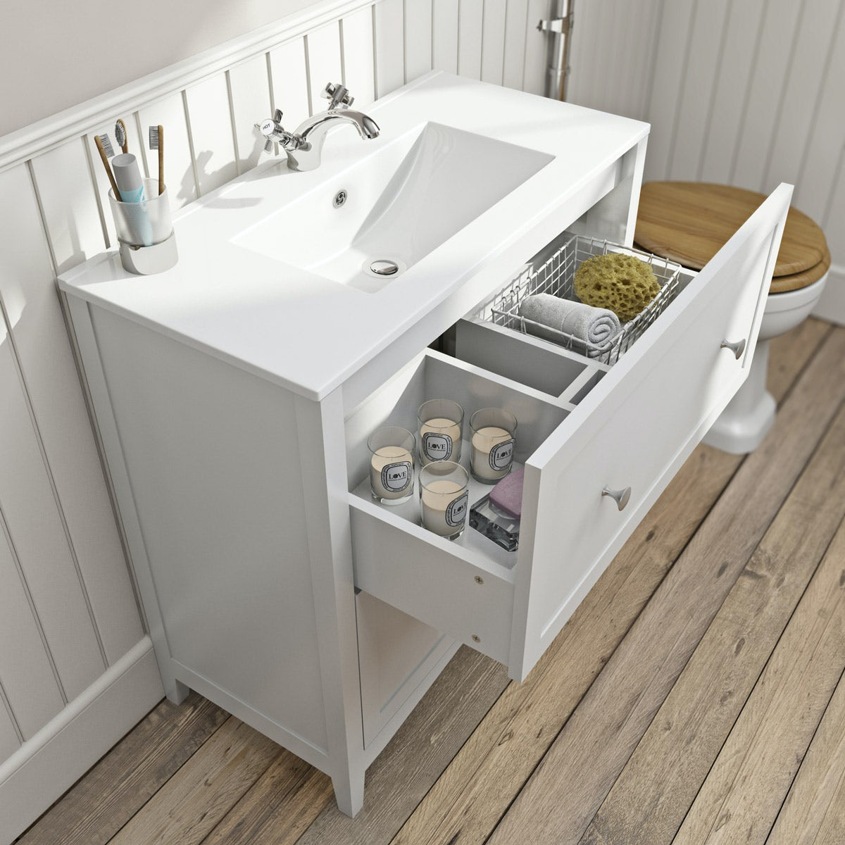 The Bath Co. Camberley white vanity unit with basin 800mm ...