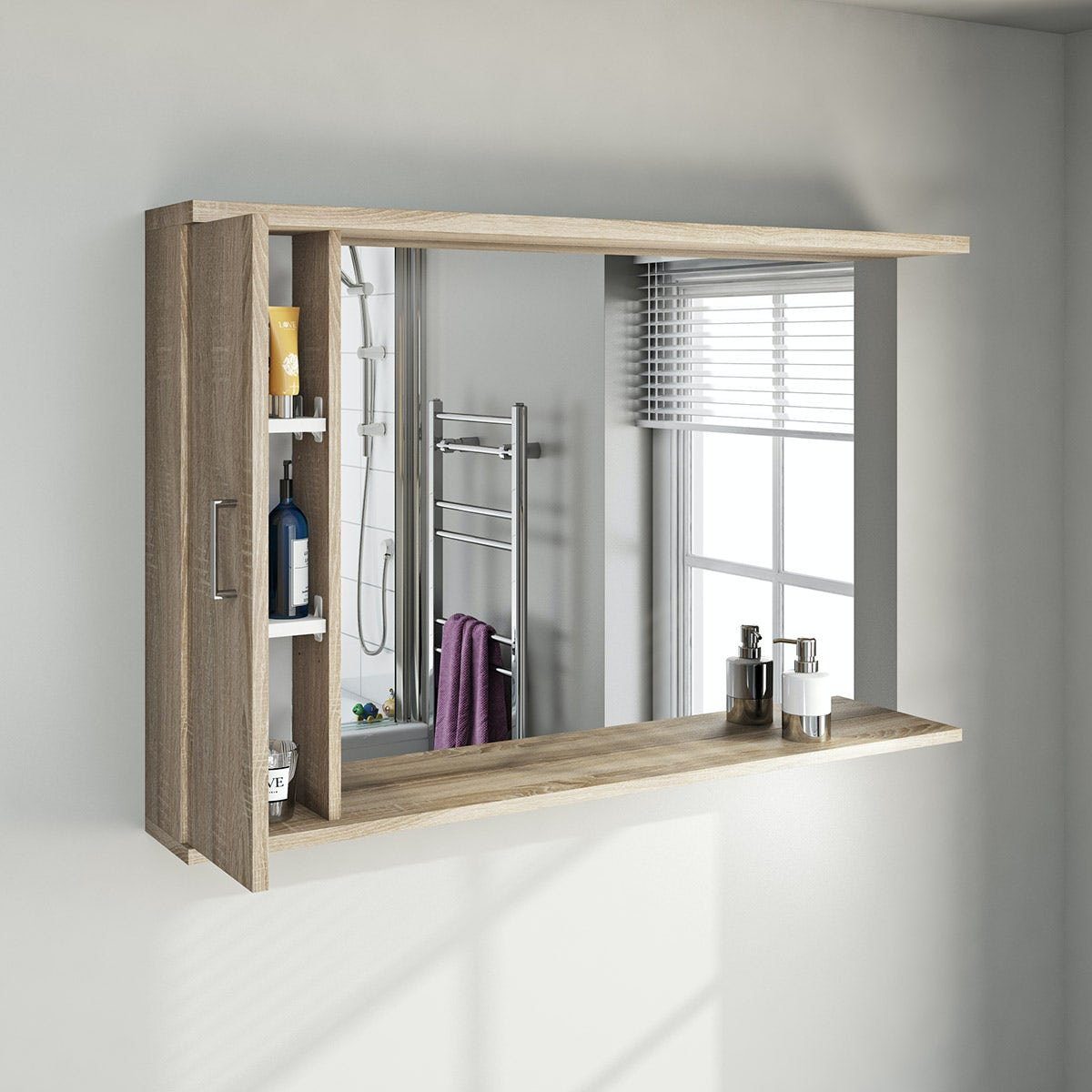 oak bathroom mirror with lights 1200mm