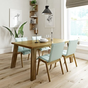 Lincoln oak dining table with 4 x Hadley light cyan dining chairs