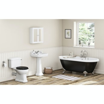 The Bath Co. Camberley black bathroom suite with freestanding bath
