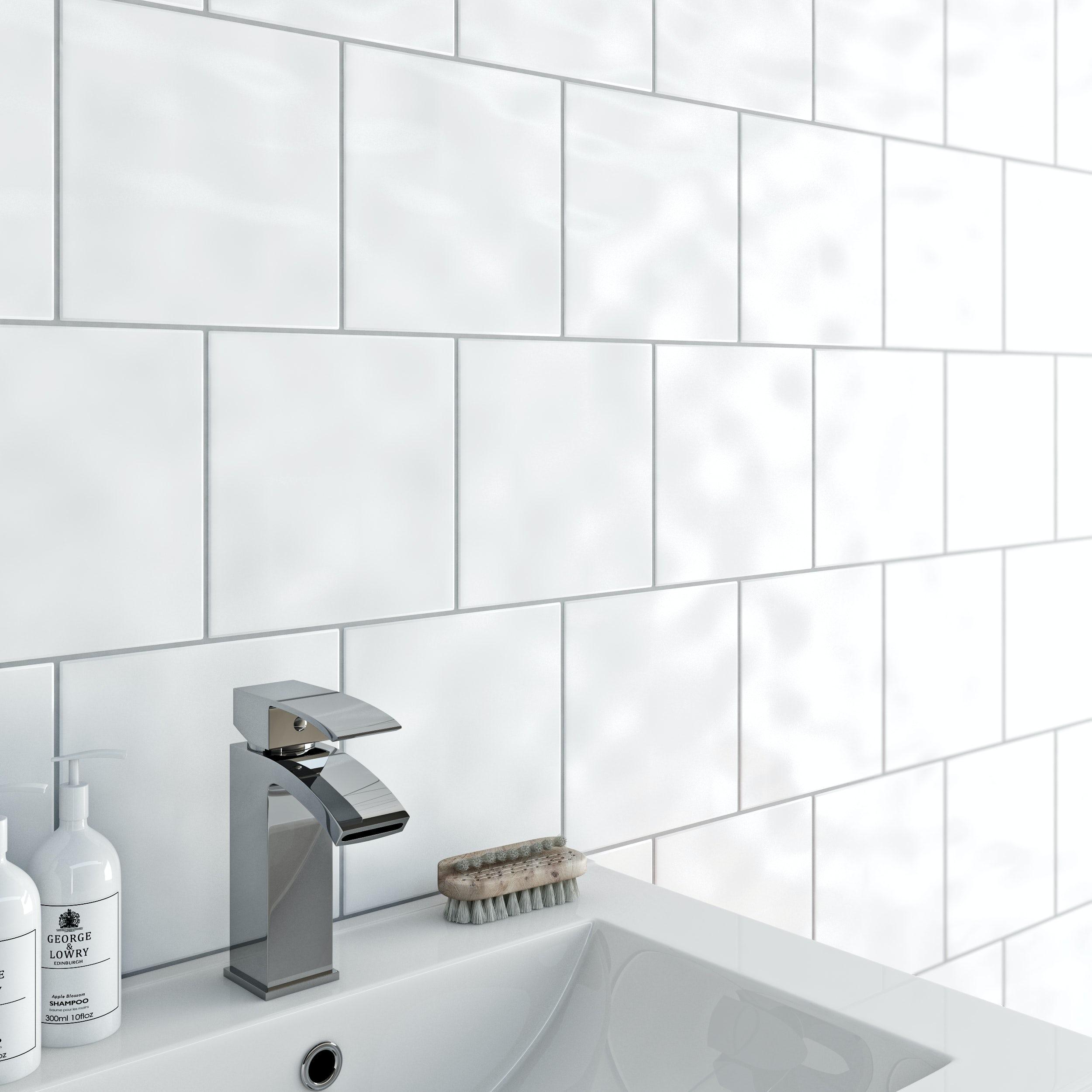 Simplicity bumpy white gloss tile 200mm x 200mm