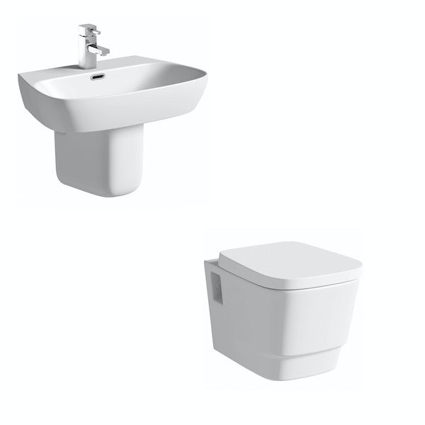 Mode Foster wall hung toilet suite with semi pedestal basin 600mm
