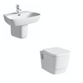 Mode Princeton wall hung toilet suite with semi pedestal basin 600mm