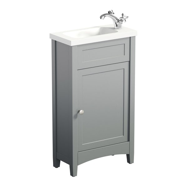 The Bath Co. Camberley satin grey cloakroom suite with traditional close coupled toilet with tap and waste