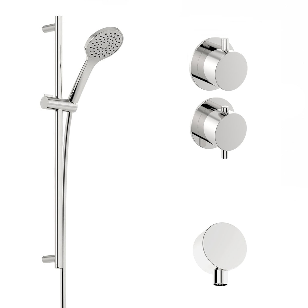 Mode Hardy thermostatic twin shower valve and slider rail set