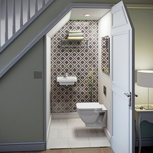 Mode Cooper wall hung toilet and basin suite